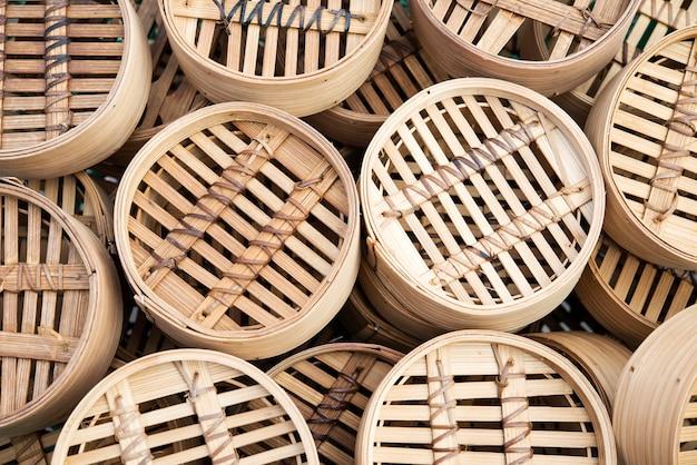 Dim sum bambuskörbe