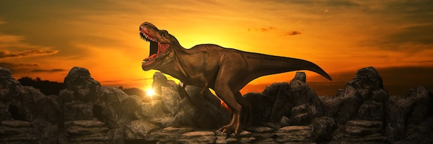 Dinosaurier auf felsenberg bei sonnenuntergang 3d-rendering
