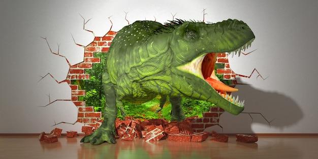 Dinosaurier kriechen aus einem fehler in der wand, 3d illustration