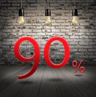 Discount 90 prozent rabatt mit text sonderangebot ihren rabatt im innenraum mit weißen ziegeln