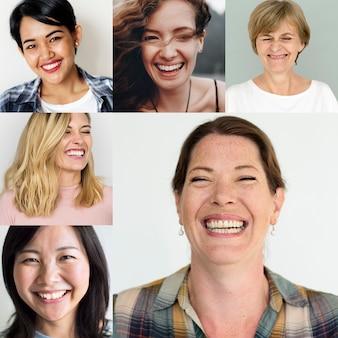 Diverse menschen verschiedener ethnien stehen porträts gegenüber