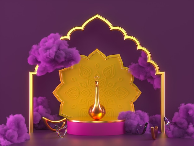 Diwali, festival of lights podium szene mit 3d indian rangoli, glänzende und goldene dekorative diya-öllampe, lila wolken. 3d-rendering-abbildung.