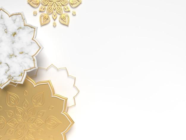 Diwali, festival of lights szene mit 3d indian rangoli. feiertage oder hochzeit indisches design. 3d-rendering-abbildung.