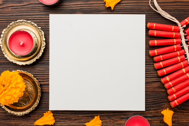 Diwali-konzept mit kopierraum auf dem tisch