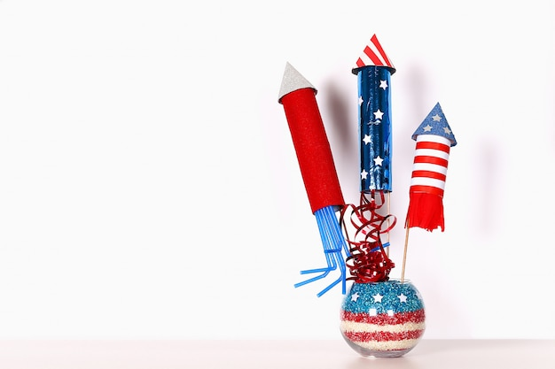 Diy 4. juli dekor farbe amerikanische flagge, rot, blau, weiß. geschenkidee, dekor usa independence day