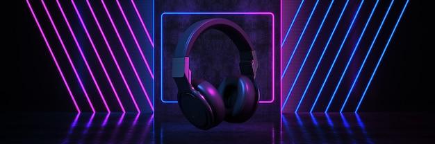 Dj-kopfhörer auf schwarzem hintergrund mit neonröhren