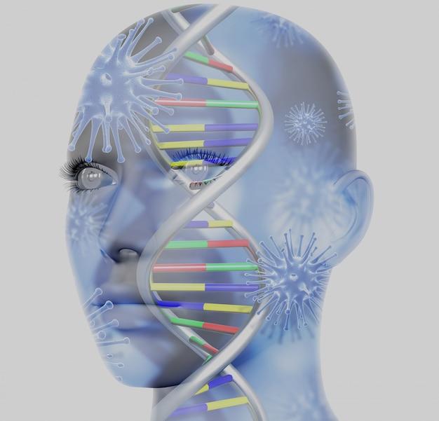 Dna-helix im menschlichen kopf