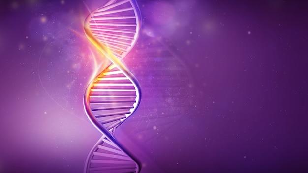 Dna-helix-modell auf violettem hintergrund d render