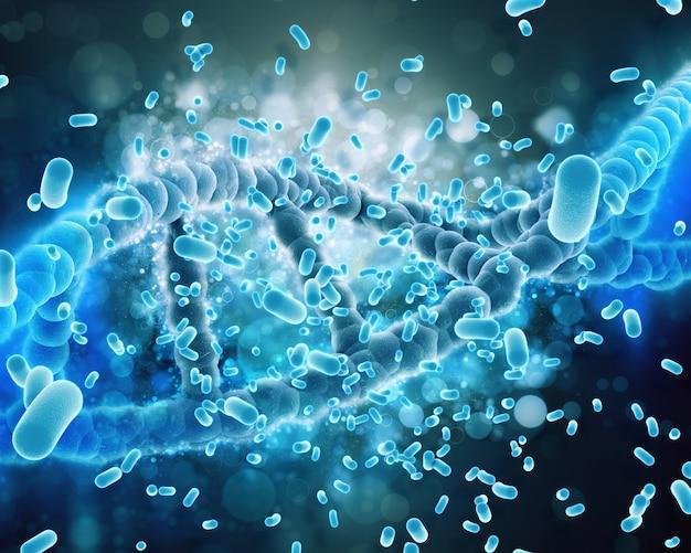Dna-helix von bakterien angegriffen