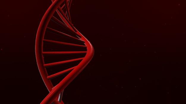 Dna isoliert in rotem hintergrund 3d illustration