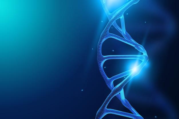 Dna-molekül auf einem blauen hintergrund