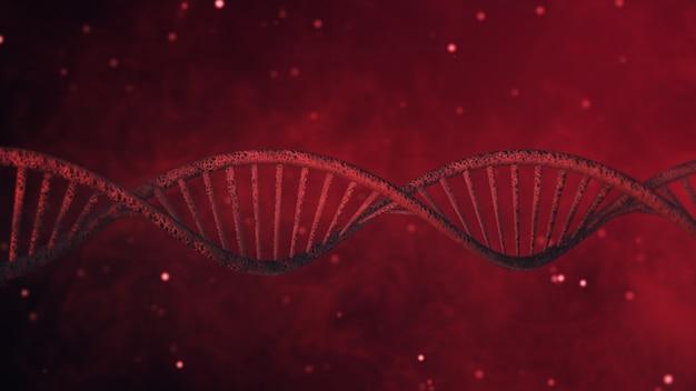 Dna-struktur auf abstrakter roter hintergrund 3d illustration