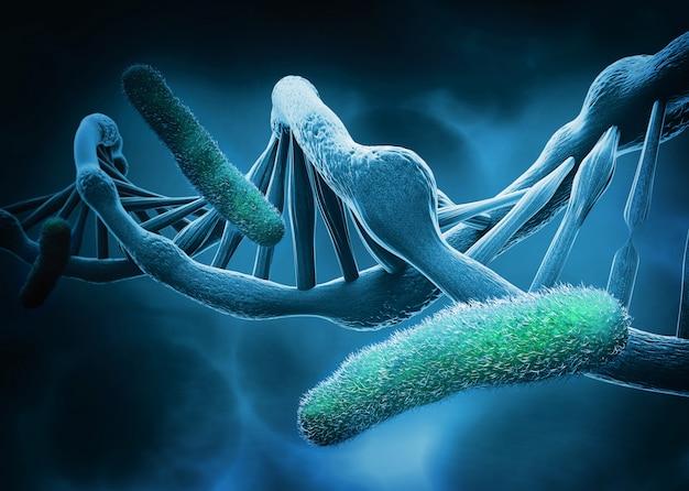 Dna-struktur und bakterien, abstrakter hintergrund