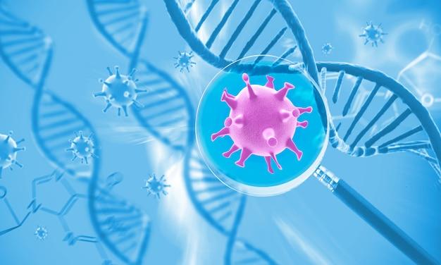 Dna-struktur und virus, abstrakter hintergrund