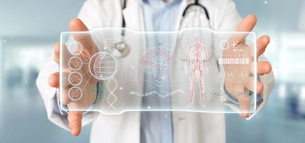 Doktor, der ein futuristisches schablonenschnittstellenhud hält