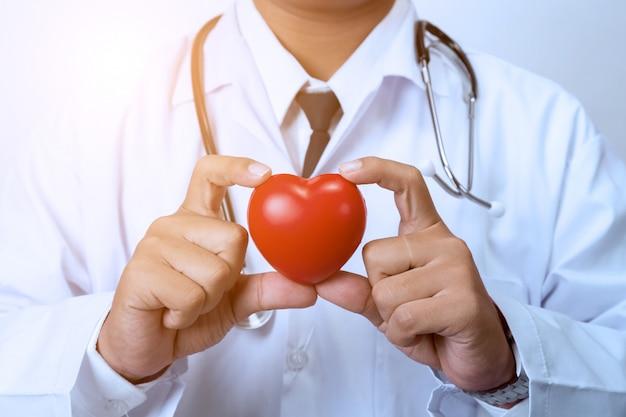 Doktor, der ein rotes herz hält