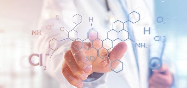 Doktor, der eine molekülstruktur der wiedergabe 3d hält