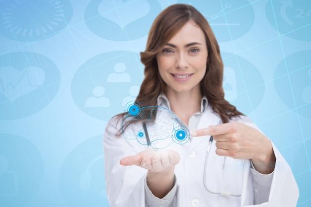 Doktor ein virtuelles gehirn in der hand zeigt,