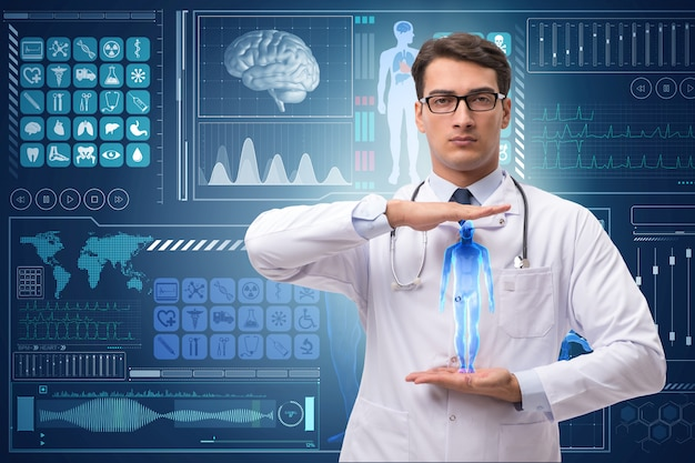 Doktor im futuristischen medizinischen hintergrund