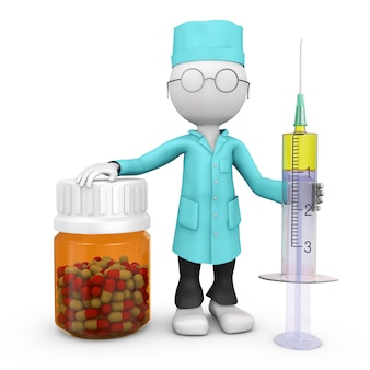 Doktor mit einer spritze und einer flasche mit medikamentenkapseln