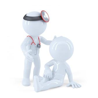 Doktor schaut seinen patienten an. isoliert. enthält einen beschneidungspfad