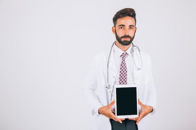 Doktor, tablette bildschirm und kopie raum