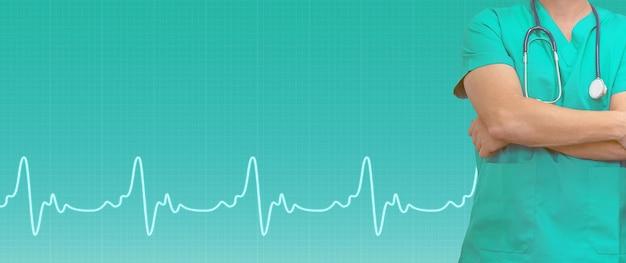 Doktor und ekg-linie auf medizinischem grünem hintergrund. medizinische websites mit kopierplatz. gesundheitsbanner.