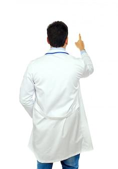 Doktor von hinten zeigend
