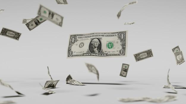 Dollar, die durch die luft fallen, vor einem weißen hintergrund. 3d-darstellung