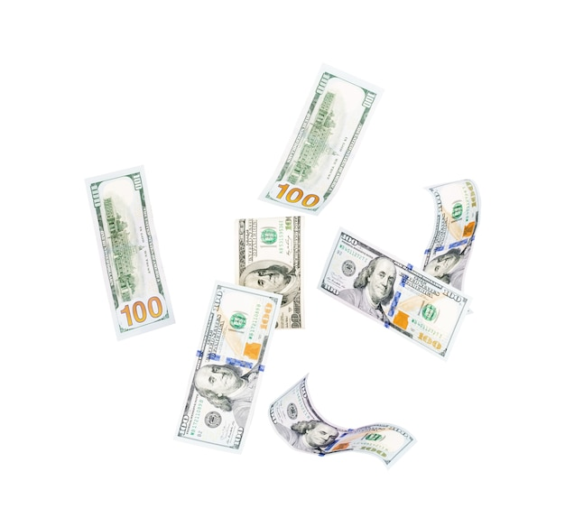 Dollar fallen auf weißem hintergrund