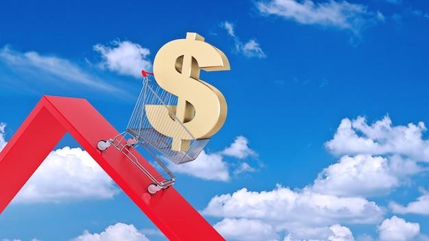 Dollar-konzept währungsrückgang 3d-rendering