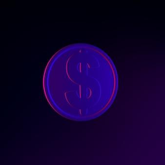 Dollar-münzen-neon-symbol. 3d-rendering-ui-ux-schnittstellenelement. dunkel leuchtendes symbol.