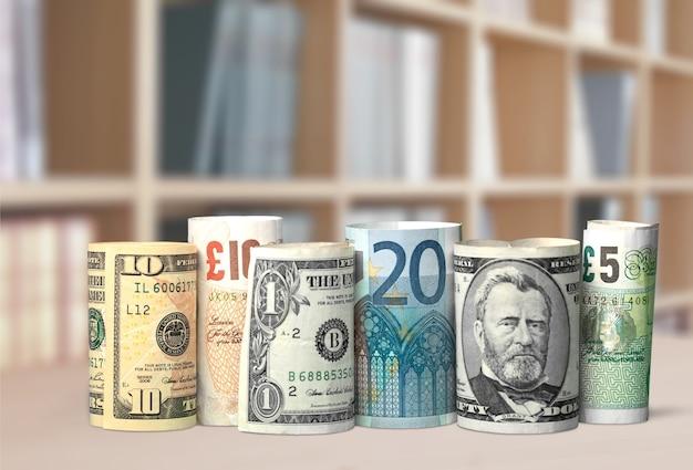 Dollar und euro-banknoten auf hintergrund