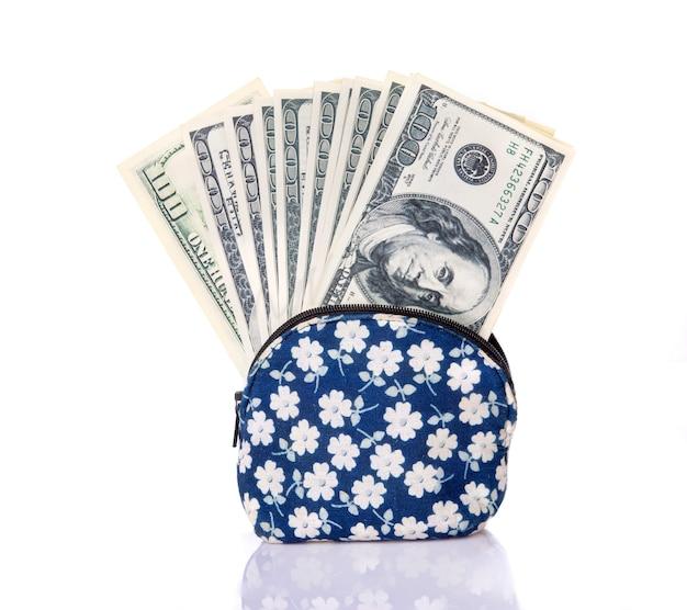 Dollarbanknote in der einkaufsgeldbörsenblumen-beschaffenheitsart lokalisiert auf weißem hintergrund.