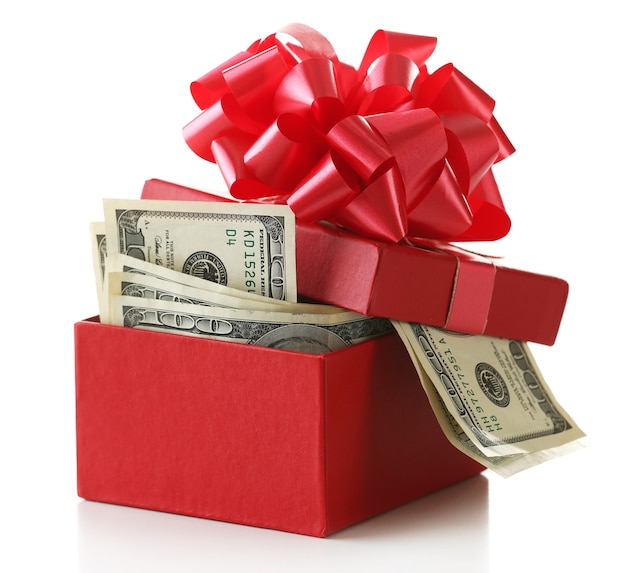 Dollarbündel in geschenkbox mit schleife isoliert