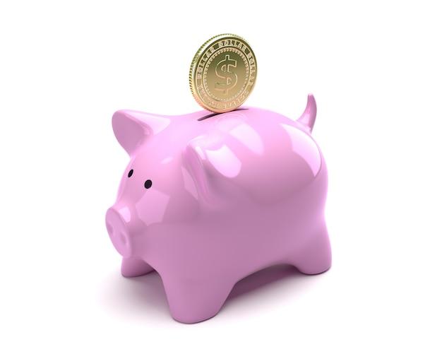 Dollarmünze, die in rosa sparschwein fällt