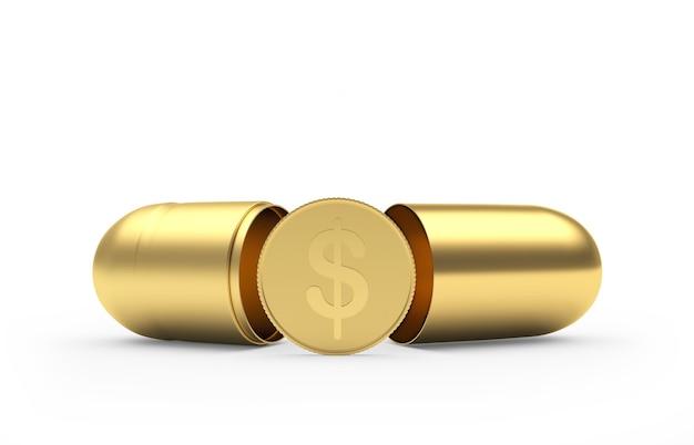 Dollarmünze in einer offenen medizinischen goldkapsel.