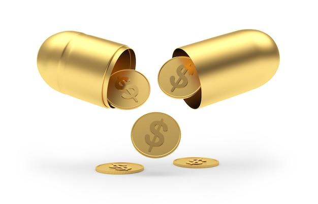 Dollarmünzen fallen aus der goldenen medizinischen kapsel.