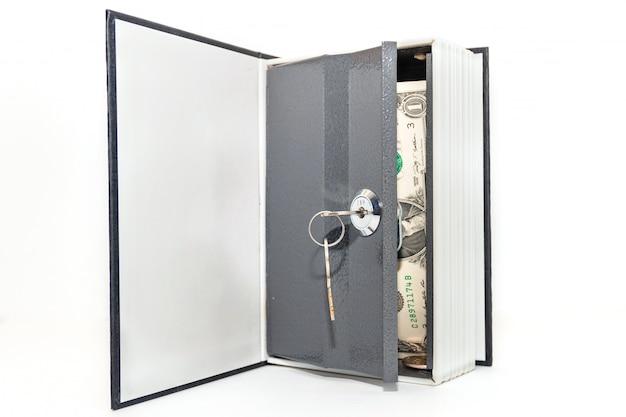 Dollarscheine in der wölbung lokalisiert auf weißem hintergrund. mit geld sicher öffnen.