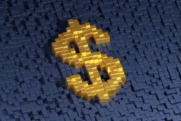 Dollarsymbol gebildet mit goldenen würfeln auf einem dunklen hintergrund.