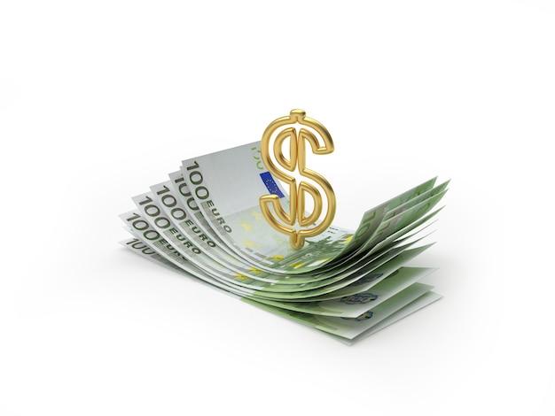 Dollarzeichen auf einem bündel von euro-banknoten