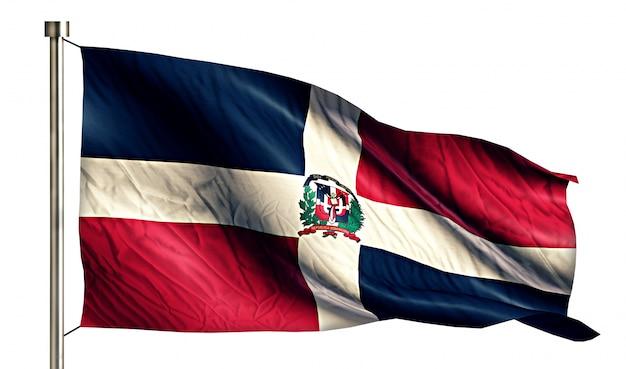 Dominikanische nationalflagge isoliert 3d weißen hintergrund