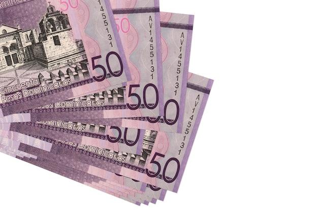 Dominikanische pesos rechnungen liegen in kleinen bündel oder packung isoliert