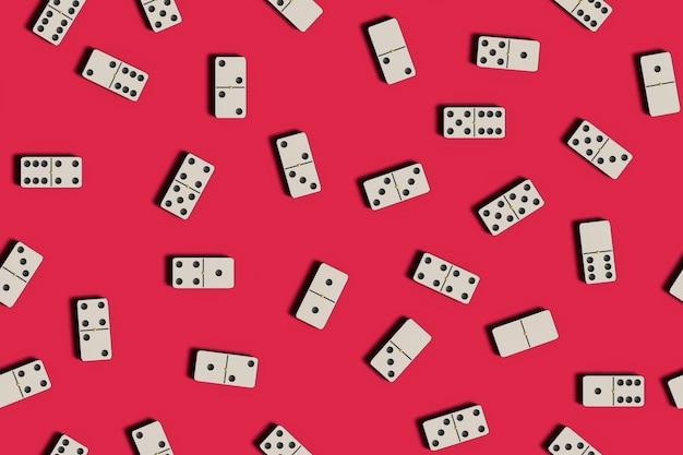 Domino kachelt auf rotem grund. nahtloses muster.