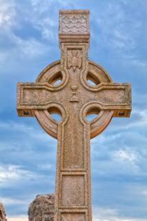 Donegal friedhof keltisches kreuz hdr tod
