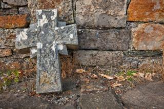 Donegal friedhof steinkreuz hdr toten