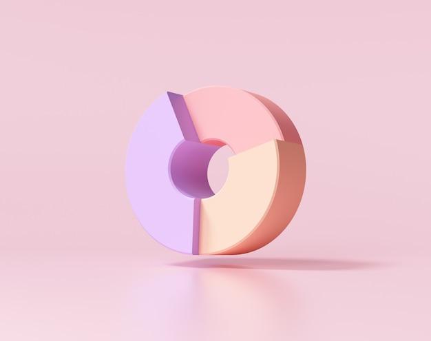 Donut-diagramm auf rosa hintergrund. 3d-darstellung.