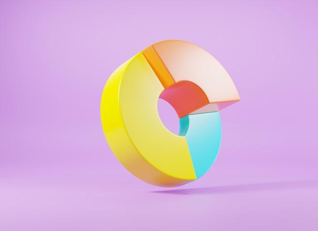 Donut-diagramm-diagramm-wachstumsdiagramm infografik-elementanalyse 3d-rendering-illustration