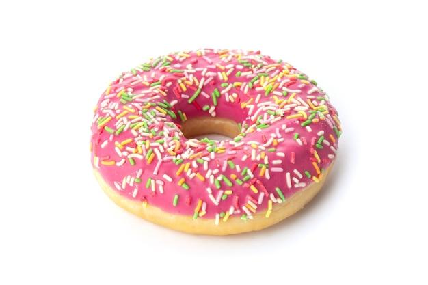 Donut mit streuseln isoliert auf draufsicht der weißen oberfläche