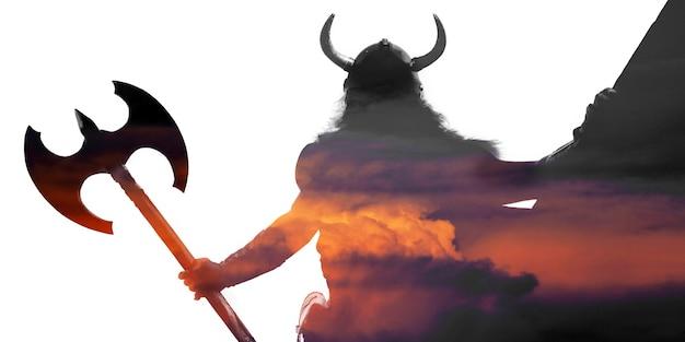 Doppelbelichtetes portrait eines starken wikingers